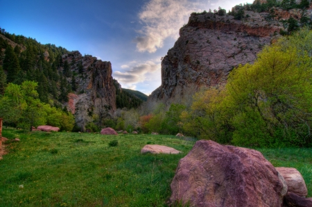 Boulder Canyon, Colorado - stones, mountains, clouds, usa, sky, trees