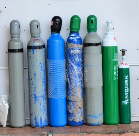 Welding tanks - colorful, blue, green, welding tanks, grey