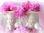 ✿⊱•╮Peonies on Cherubs╭•⊰✿