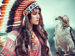 Native American Girl With Eagle F