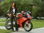 Aprilia Motorcycle and Model in Leather
