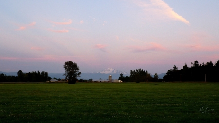 Pacific Northwest Farm Country - sunset, photography, Cascade mountains, Whatcom, twilight, Mount Baker, Pacific Northwest, farm, Washington, sky