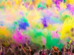 Party with colorful dust