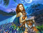 Fantasy Fairy With Tigers
