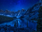 Moraine lake at night