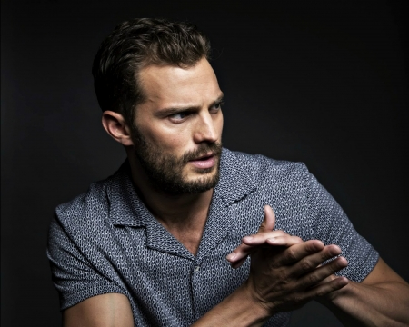 Jamie Dornan - Jamie Dornan, actor, blue, hand, man, black
