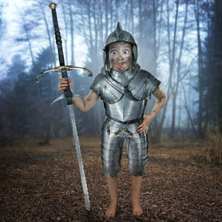 Just Don Quijote - armor, copil, child, creative, john wilhelm, situation, girl, funny, la mancha, quijote, fantasy