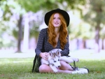 Cowgirl Bella Thorne and her Husky Puppy