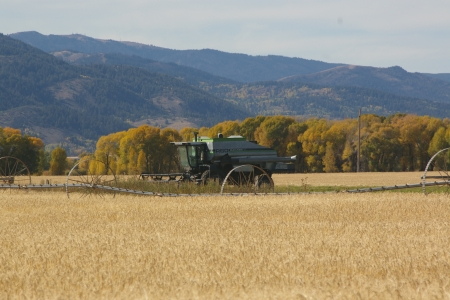Gleaner on last Harvest, Victor, Idaho - Autumn, Mountains, Gleaner, Farms, Grain, Combines, Implement Equipment, Fall