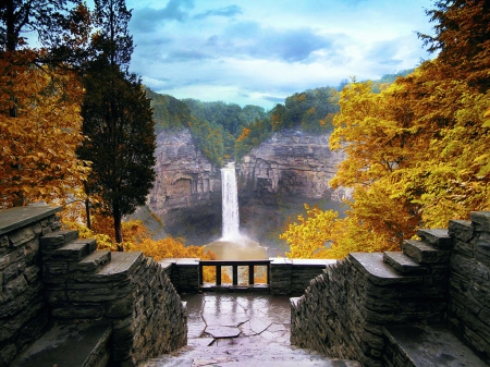 Taughannock Falls in Autumn, Ulysses, NY - mountains, season, rocks, fall, water