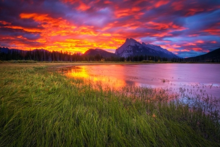 Sunset at Vermillion Lakes, Alberta, Canada - colors, clouds, mountains, sky, reflection