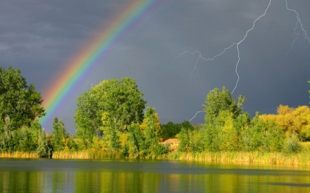 Rainbow and lightning - Lightning, River, Trees, Clouds, Rainbow, Lake, Cumulo nimbus