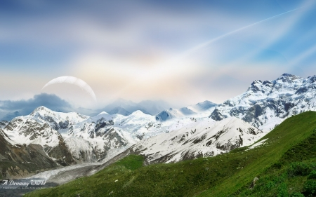 A dreamy world - mountain, snow, dky, nature