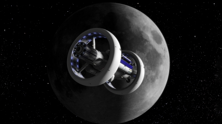 Moon Space Station - space, moon, 3D, render, stations, futuristic
