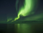 Aurora borealis over Great Bear Lake in Canada