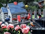 Songbirds on Birdhouse F