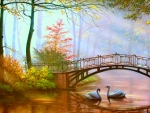 Landscape with swans