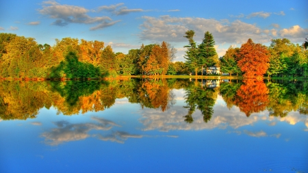 Autumn Lake - lake, clouds, autumn, forest, nature, reflection, trees