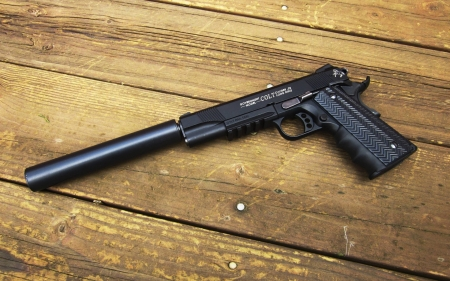 Silenced M1911 Pistol - Hunting & Sports Background ... M1911 Suppressed