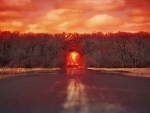 Bright Sunset Red Road