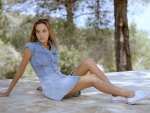 Katya Clover in Denim Dress