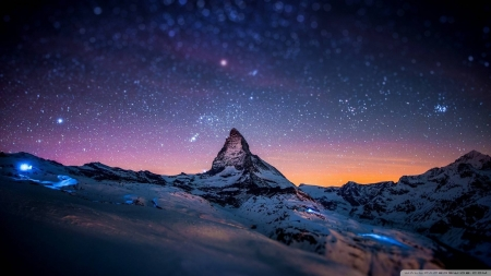 under the stars - space, cool, stars, mountain, fun