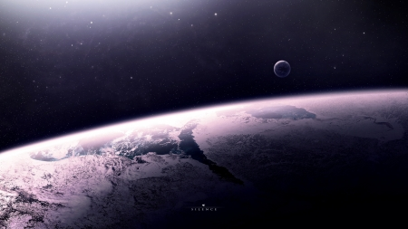 Silence - space, 3d, render, blue, planets, moons, purple