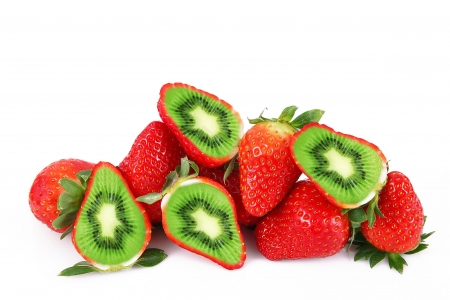 Funny fruits - creative, funny, green, strawberry, white, berry, red, fantasy, kiwi