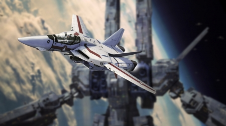 Rick and the SDF1 in space - valkyrie, macross, robotech, veritech