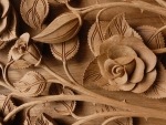 Carved Wooden Roses