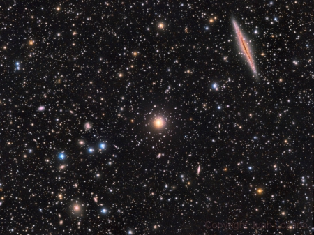 NGC 891 vs Abell 347 - cool, galaxies, space, stars, fun