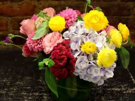 Lovely Bouquet - nature, bouquet, flowers, rose, buttercup, hydrangea