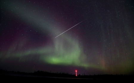Northern Lights and Stars - Sky, Stars, Rockets, Lights, Space, Meteors