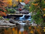 Mill in fall forest