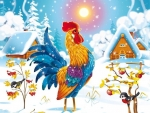 Colorful Rooster in Winter