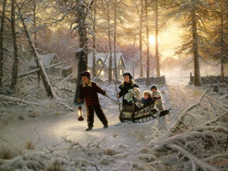 Winter Fun - Children, Art, pretty, Winter