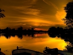Golden Sunset on the Lake