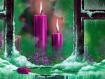 Purple christmas candles