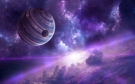 Planets - space, moon, pink, luminos, purple, planet, luna, cosmos