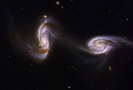 Arp 240 A Bridge between Spiral Galaxies from Hubble - cool, galaxies, space, stars, fun