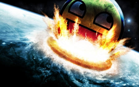 Derp Crashing - Explosion, Derp Face, Space, Earth