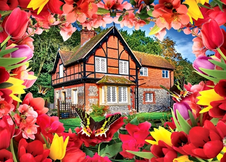 Autumn Cottage F - artwork, painting, art, cottage, wide screen, architecture, scenery, beautiful, autumn, landscape, butterflies, tulips