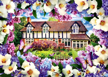 Lilac Cottage F - beautiful, artwork, painting, art, cottage, wide screen, architecture, scenery, landscape, butterflies, lilacs