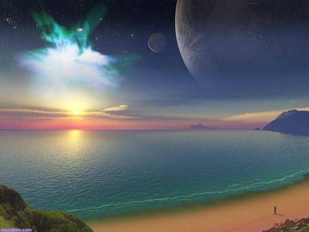 Amazing Scene - moon, ocan, omg this wallpaper is just breath taken, sea, amazing scene, amazing, magical, beach, ocean