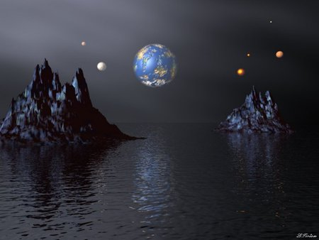 Earth and Different Planets in View from a Water Planet - 3D and ...