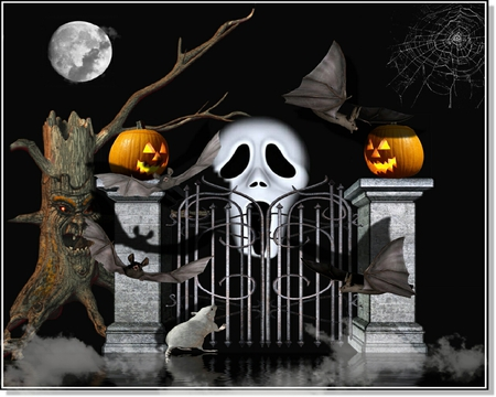The Scream..... - graveyard, scream, pumpkin, moon