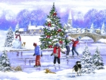 Skaters in Christmas