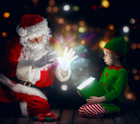 Magical surprise - fantasy, christmas, old man, red, craciun, elf, santa, green, surprise, creative