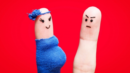 Funny couple - blue, couple, red, fingers, funny