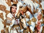 Native American Girl With Horses FC